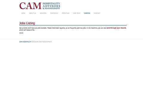 Screenshot of Jobs Page camhospitality.com - Jobs Listing | CAM Hospitality - captured Sept. 26, 2018