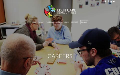 Screenshot of Jobs Page edencare.ca - Careers – Eden Care Communities - captured July 16, 2018
