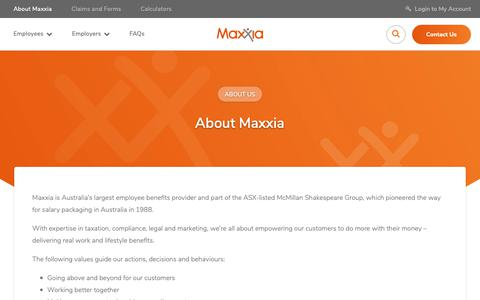 Screenshot of About Page maxxia.com.au - About Maxxia | Maxxia - captured Oct. 1, 2018
