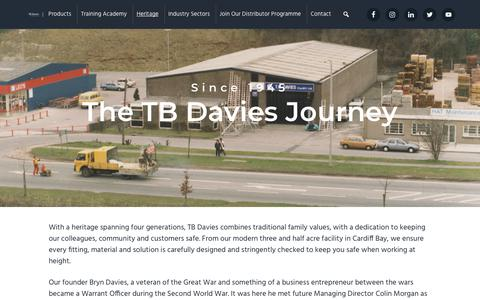 Screenshot of About Page tbdavies.co.uk - Heritage - TB Davies (Cardiff) Ltd - captured Nov. 19, 2018