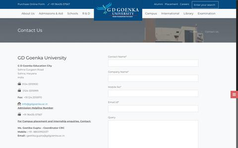 Screenshot of Contact Page gdgoenkauniversity.com - Contact Address - GD Goenka University Gurgaon/Delhi/NCR/India | GD Goenka University, Gurugram - captured Nov. 10, 2019