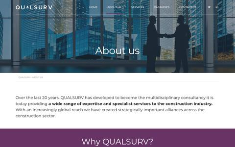 Screenshot of About Page qualsurv.co.uk - About Us - QUALSURV - captured Sept. 26, 2018
