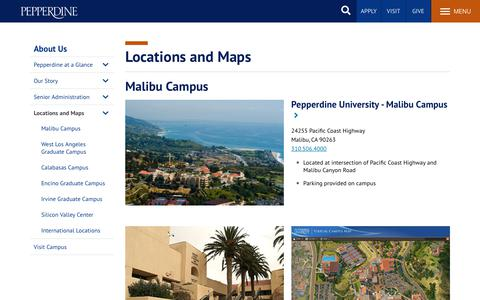 Screenshot of Locations Page pepperdine.edu - Locations and Maps | Christian University | Pepperdine University - captured Oct. 30, 2019