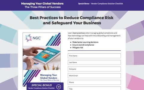 Screenshot of Landing Page ngcsoftware.com - Vendor Compliance Management Solution - captured June 30, 2017