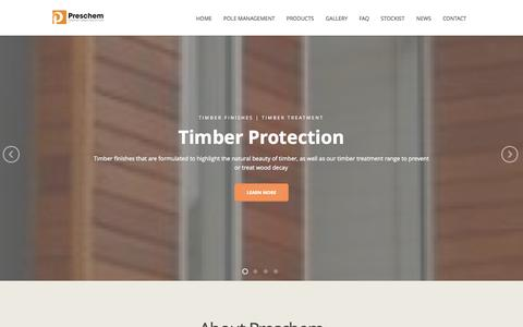Screenshot of Home Page preschem.com - Decking Oil | Wood Stain | Wood Finishes | Decking Paint - captured Sept. 30, 2014