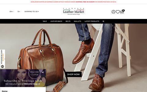 Screenshot of Home Page florenceleathermarket.com - Italian Leather Bags Online | Florence Leather Market - captured Dec. 2, 2018