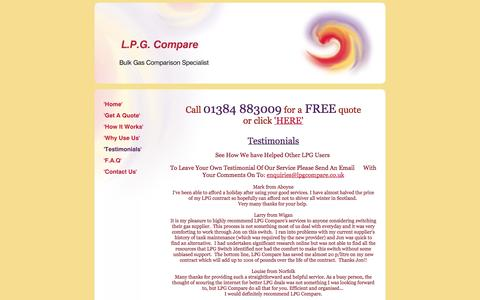 Screenshot of Testimonials Page lpgcompare.co.uk - LPG Compare - 'Testimonials' - captured Sept. 26, 2014