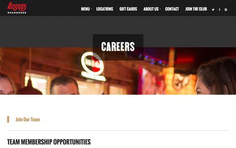 Screenshot of Jobs Page logansroadhouse.com - Careers - Logans Roadhouse - captured Feb. 21, 2016