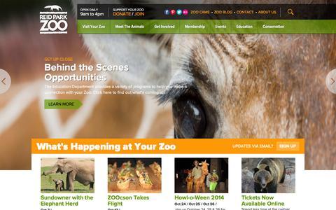 Screenshot of Home Page reidparkzoo.org - Reid Park Zoo | Tucson, Arizona - captured Oct. 6, 2014