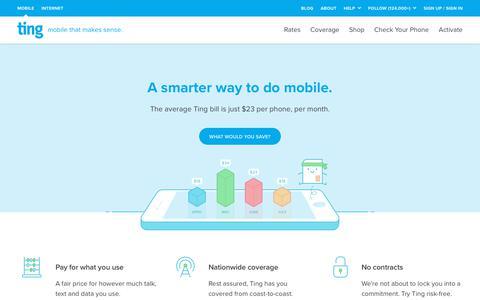 Screenshot of Home Page ting.com - Ting is a Smarter way to do mobile. Check Your Savings. - captured Feb. 17, 2018