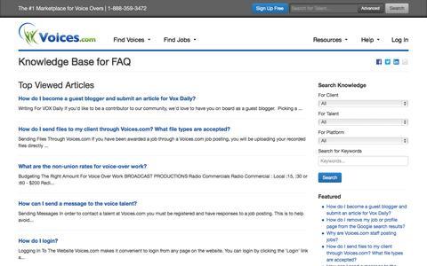 Screenshot of FAQ Page voices.com - Knowledge Base for faq | Voices.com - captured Dec. 17, 2014