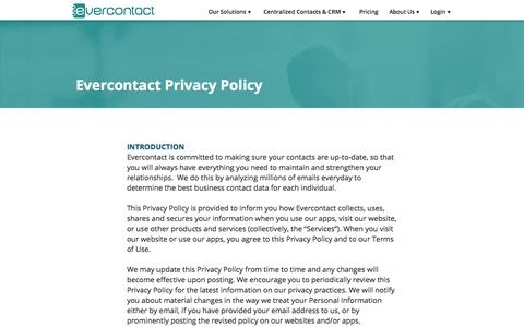 Screenshot of Privacy Page evercontact.com - Evercontact Privacy Policy - captured Aug. 27, 2016