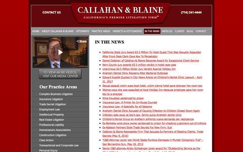 Screenshot of Press Page callahan-law.com - In The News | Callahan & Blaine - captured Jan. 29, 2018