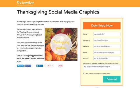 Screenshot of Landing Page thrivehive.com - Thanksgiving Social Media Graphics | ThriveHive - captured Aug. 19, 2016