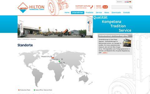 Screenshot of Locations Page hilton-kommunal.de - Zweiwege Fahrzeuge - Spezialfahrzeuge - Hilton Kommunal > Unternehmen > Standorte - captured Nov. 11, 2018