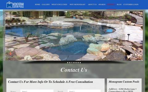 Screenshot of Contact Page monogramcustompools.com - Contact Monogram Custom Pools - captured Oct. 26, 2014
