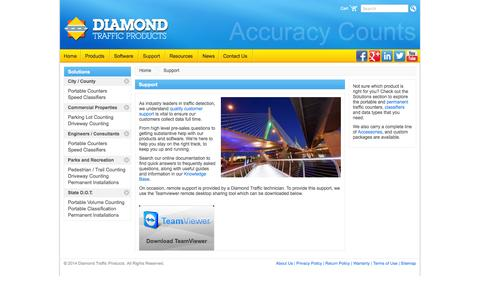 Screenshot of Support Page diamondtraffic.com - Traffic Counters | Classifiers Software Technical Support | Diamond Traffic Products - captured Oct. 5, 2014
