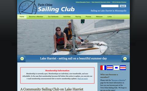 Screenshot of Home Page tcsailing.com - Home - Twin Cities Sailing Club Twin Cities Sailing Club - captured Oct. 6, 2014