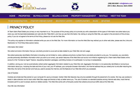 Screenshot of Privacy Page teamidahorealestate.com - Privacy Policy | Team Idaho Real Estate - captured Aug. 12, 2016