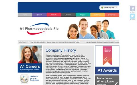 Screenshot of Home Page a1plc.co.uk - A1 Pharmaceuticals Plc | Passionate about Healthcare - captured Nov. 19, 2016