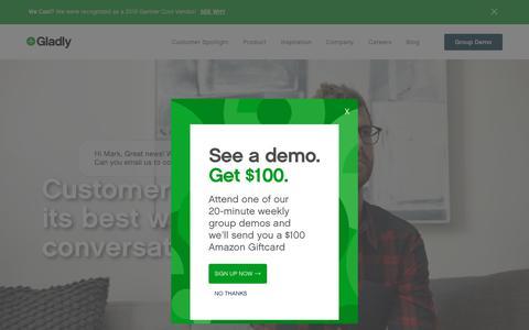 Screenshot of Home Page gladly.com - Gladly: Customer Service Platform & Contact Center Technology - captured June 20, 2019