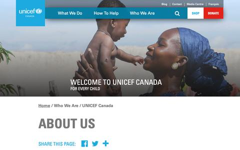 Screenshot of About Page unicef.ca - About Us | UNICEF Canada: For Every Child - captured April 13, 2019