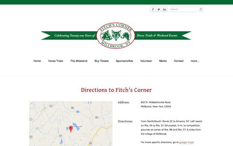 Screenshot of Maps & Directions Page fitchscorner.com - Directions - Fitchs Corner - captured Sept. 30, 2014