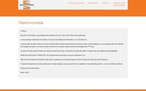 Screenshot of Testimonials Page graniteworks.com.au - Testimonials - captured Sept. 30, 2014