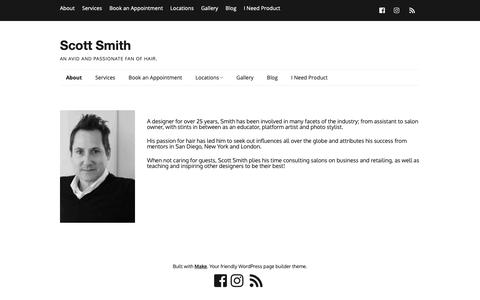 Screenshot of About Page beautybysmith.com - About – Scott Smith - captured Nov. 11, 2018