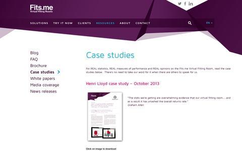 Screenshot of Case Studies Page fits.me - Fits.me | Virtual Fitting Room » Case studies - captured Sept. 16, 2014