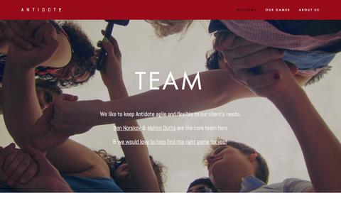 Screenshot of Team Page playistheantidote.com - Team — Antidote - captured June 2, 2018