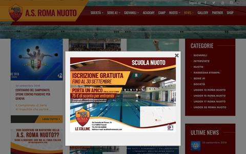 Screenshot of Press Page romanuoto.com - News – A.S. Roma Nuoto - captured Oct. 1, 2018