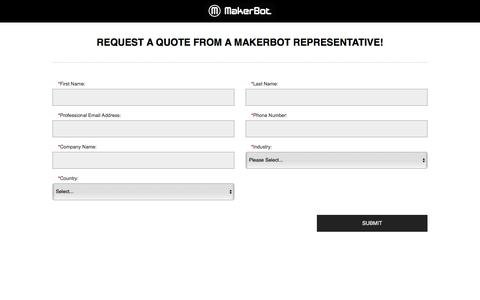 Screenshot of Landing Page makerbot.com - Request A Quote From A MakerBot Representative - captured Aug. 20, 2016