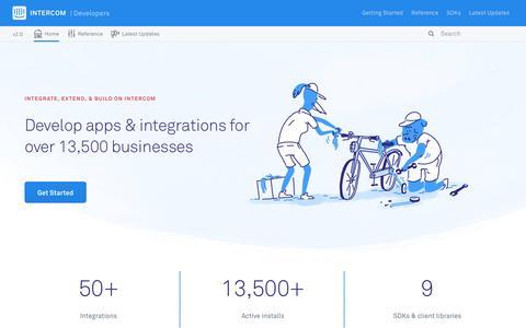Screenshot of Developers Page intercom.io - Intercom API Developer Docs - captured March 25, 2016