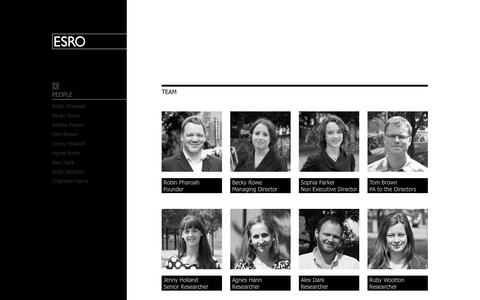 Screenshot of Team Page esro.co.uk - Revealing Reality - People - captured Sept. 26, 2014