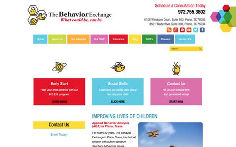 Screenshot of About Page behaviorexchange.com - About Applied Behavior Analysis in Plano - The Behavior Exchange - captured Oct. 22, 2017