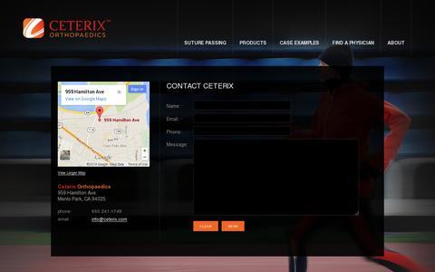 Screenshot of Contact Page ceterix.com - Contact  |  Ceterix Orthopaedics - captured July 19, 2014