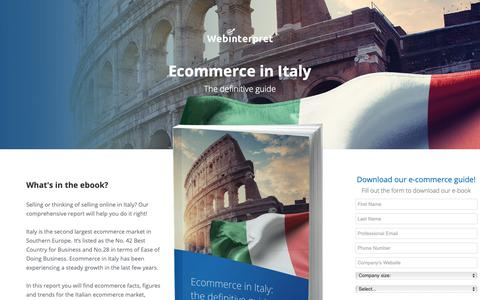 Screenshot of Landing Page webinterpret.com - Ecommerce in Italy: the definitive guide - captured Oct. 4, 2018