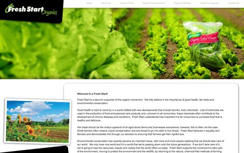 Screenshot of Home Page freshstartorganic.com - welcome to fresh start organic! - captured Oct. 6, 2014