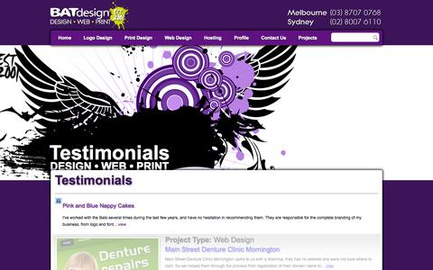 Screenshot of Testimonials Page batdesign.com.au - Testimonials | BAT Design - captured Sept. 30, 2014