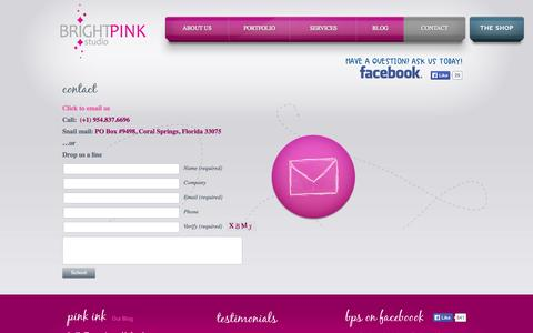 Screenshot of Contact Page brightpinkstudio.com - Contact Us | BrightPink Studio - captured Oct. 5, 2014