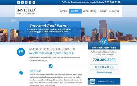 Screenshot of Services Page investedreg.com - Services | Invested Real Estate | Denver Colorado | Commercial Real Estate | Residential Real Estate - captured Oct. 6, 2014