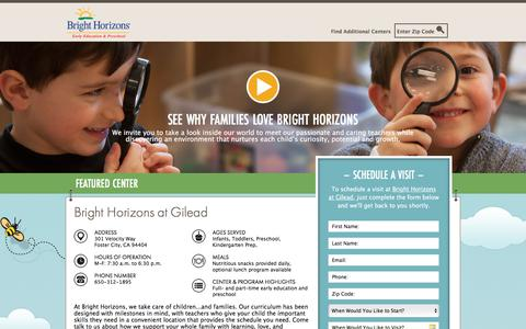 Screenshot of Landing Page brighthorizons.com - Bright Horizons® | Child Care, Back-Up Care, Early Education, and Work/Life Solutions - captured April 19, 2018