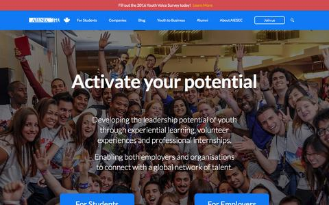 Screenshot of Home Page aiesec.ca - AIESEC - captured Feb. 4, 2016