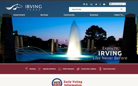 Screenshot of Home Page cityofirving.org - Irving, TX - Official Website | Official Website - captured Oct. 17, 2015