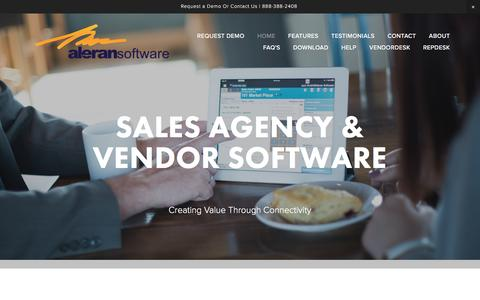 Screenshot of Menu Page aleran.com - SALES AGENCY & VENDOR SOFTWARE — Aleran Software - captured Nov. 20, 2016