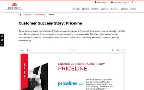 Screenshot of Case Studies Page equinix.com - Priceline Customer Success Story - captured Dec. 29, 2017