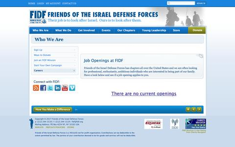 Screenshot of Jobs Page fidf.org - Job Openings - Friends of the Israel Defense Forces - captured March 23, 2017