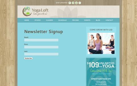Screenshot of Signup Page yogaloftboulder.com - Newsletter Thank You | Yoga Loft - captured Sept. 23, 2014