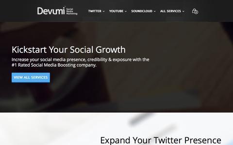 Screenshot of Home Page devumi.com - Devumi - Kickstart Your Social Media Presence - captured Jan. 16, 2016